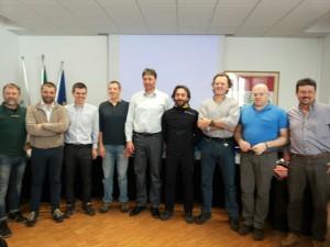 Il Consiglio Nazionale CNSAS. Da sinistra: Guiducci, Franzese, Bolza, Corti, il presidente Dellantonio, Molinu, Pesci, Bristot e Favre